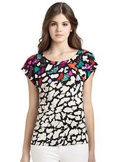 Nanette Lepore - Confetti Sequin-Accented Silk Printed Top