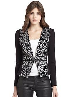 Rebecca Taylor - Leopard Zip Peplum Jacket