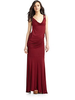 Catherine Malandrino - Cowlneck Gown/Red