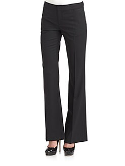 Catherine Malandrino - Wide-Leg Stretch Wool Trousers/Black
