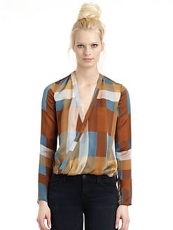 10 Crosby Derek Lam - Silk Satin Plaid Hi-Lo Blouse