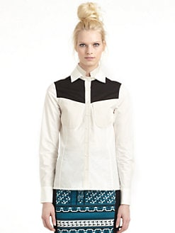 10 Crosby Derek Lam - Colorblock Button Front Shirt