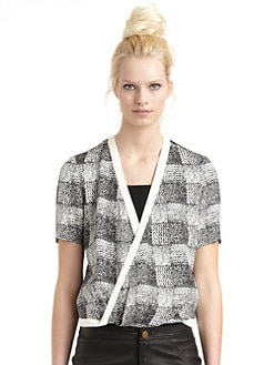 10 Crosby Derek Lam - Silk Abstract Twist-Front Hi-Lo Blouse