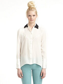 10 Crosby Derek Lam - Silk Chiffon Button Front Blouse