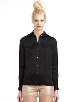 10 Crosby Derek Lam - Silk Crepe Button Front Blouse