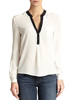 7 For All Mankind - Two-Tone Silk Blouse