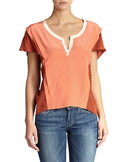 7 For All Mankind - Colorblock Silk Blouse