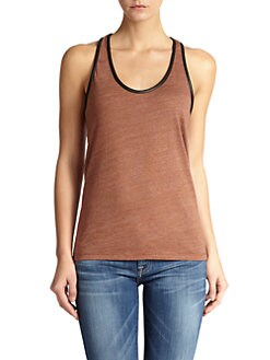 7 For All Mankind - Leather-Trimmed Tank Top