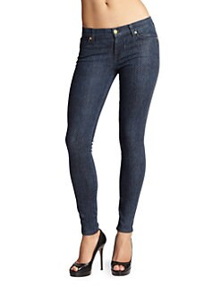 7 For All Mankind - Herringbone-Print Coated Skinny Jeans