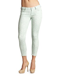 7 For All Mankind - Floral-Print Cropped Skinny Jeans