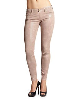 7 For All Mankind - Patent-Finish Reptile-Print Skinny Jeans/Mauve