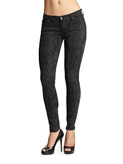 7 For All Mankind - Snakeskin-Print Skinny Jeans