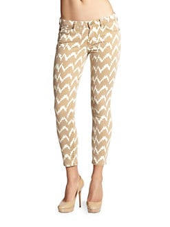 7 For All Mankind - Chevron-Print Cropped Skinny Jeans