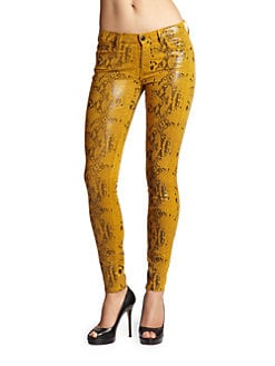 7 For All Mankind - Patent-Finish Reptile-Print Skinny Jeans/Amber