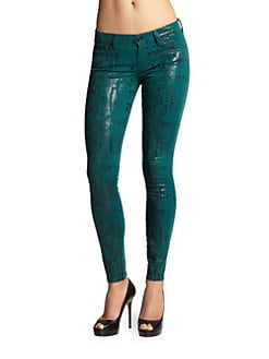 7 For All Mankind - Patent-Finish Reptile-Print Skinny Jeans/Teal