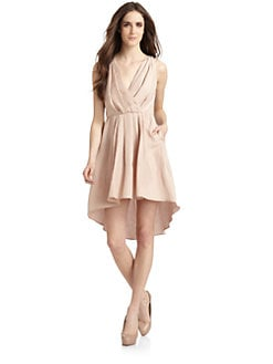 Cynthia Rowley - Silk & Linen Pleated Dress/Pale Rose