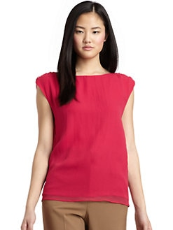 Alice + Olivia - Silk Frayed Shoulder Blouse