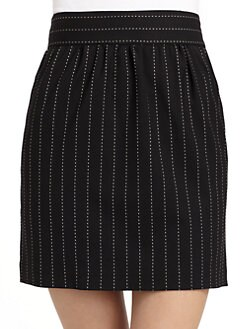 Alice + Olivia - Elizabeth Wool Stripe Stitched Skirt