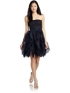 Alice + Olivia - Felicity Silk Beaded Ruffled Cocktail Dress
