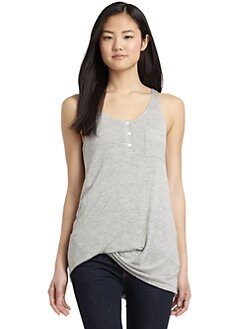 Under.Ligne by Doo.Ri - Side Draped Tank Top/Greystone