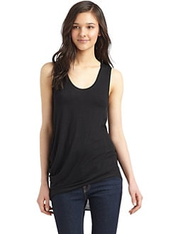 Under.Ligne by Doo.Ri - Waffle-Trim Draped Tank Top/Black