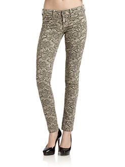 SOLD Design Lab - Soho Floral-Print Super Skinny Jeans