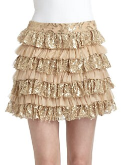 Alice + Olivia - Tiered Lace Ruffle Skirt