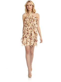 Madison Marcus - Floral Ruffled Silk Halter Dress
