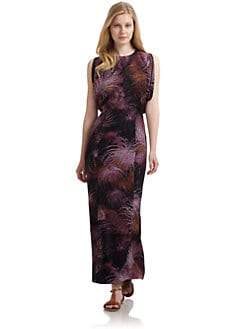 Wren - Silk Open Back Kimono Maxi Dress/Purple