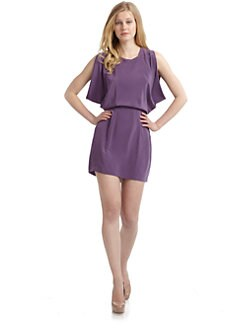 Wren - Silk Chiffon Open Back Kimono Dress/Purple