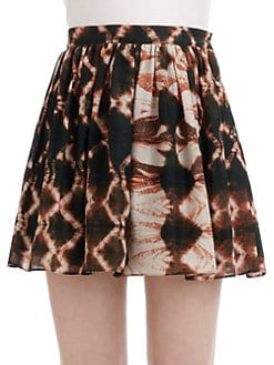 Wren - Abstract Print Pleated Skirt