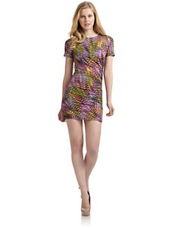 Wren - Shirred Abstract Print Jersey Dress/Purple