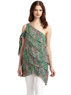 BCBGMAXAZRIA - Silk Tiered One-Shoulder Tunic