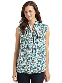 French Connection - Freya Floral Tie-Neck Top