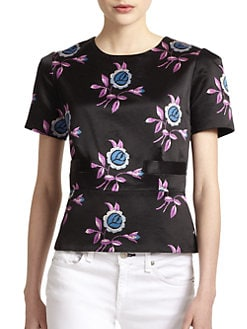 Jill Stuart - Irina Floral-Print Cotton/Silk Flared Blouse