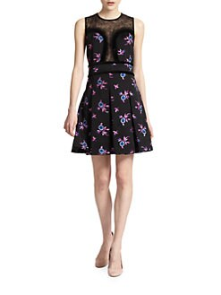 Jill Stuart - Cassy Floral-Print Satin Pleated Dress