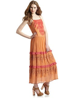 Free People - Dancing India Silk Embroidered Detail Dress