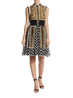 D&G - Printed Chiffon & Knit Dress