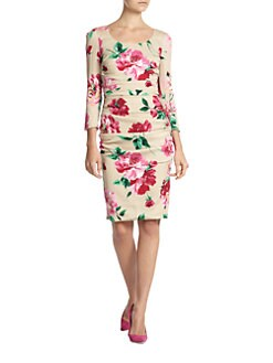 Dolce & Gabbana - Floral-Print Stretch Silk Ruched Dress