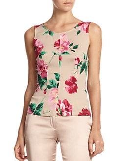 Dolce & Gabbana - Floral-Print Stretch Silk Sleeveless Blouse