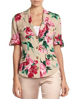 Dolce & Gabbana - Floral-Print Stretch Silk Button-Front Blouse