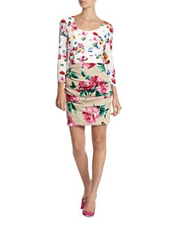 Dolce & Gabbana - Mixed Floral-Print Stretch Silk Ruched Dress