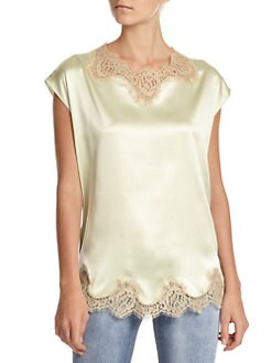 Dolce & Gabbana - Jewel-Accented Lace-Trimmed Satin Blouse
