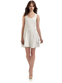 Cynthia Rowley - Silk Topstitched Tank Dress/White
