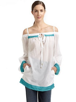 Just Cavalli - Off-The-Shoulder Cotton/Silk Tunic