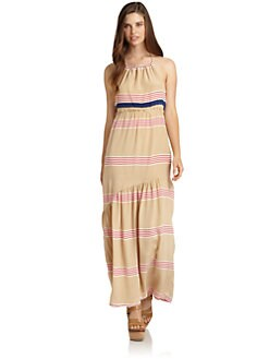 Alcee - Dana Silk Chiffon Striped Maxi Halter Dress