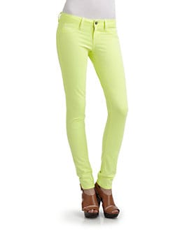 SOLD Design Lab - Spring Street Skinny Leg Denim Jeans/Neon Green