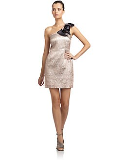 Hanii Y - One-Shoulder Metallic Jacquard Dress