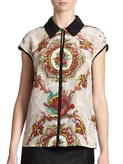 Ted Baker - Barqoue-Print Silk Blouse