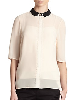 Ted Baker - Laser Cut-Detail Contrast Collar Blouse